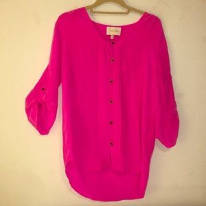 Yumi Kim pink blouse with black buttons